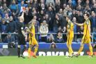 Red mist. Anthony Knockaert (second left) is sent-off by referee Roger East at Goodison Park. Pictures by Richard Parkes