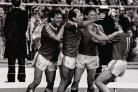 Ray Wilkins, second from left, is congratulated after scoring against Albion in the FA Cup final