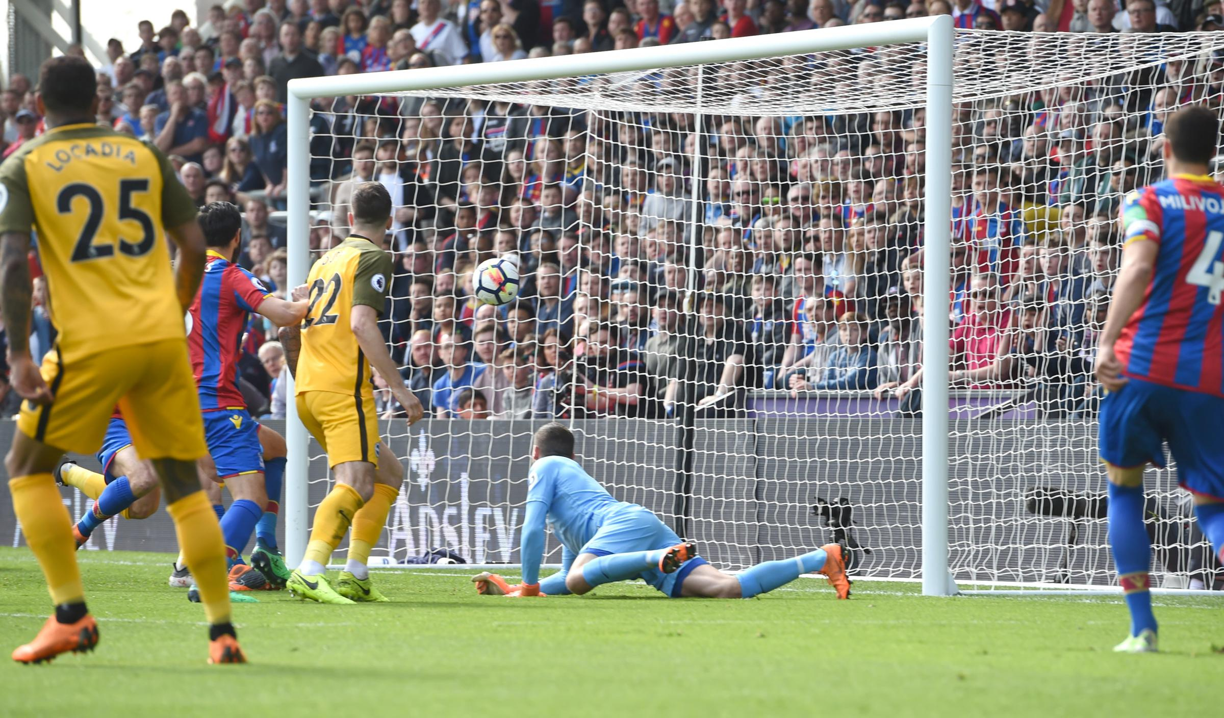 Mathew Ryan is beaten as Albion concede from an early corner at Selhurst Park. Picture Simon Dack.
