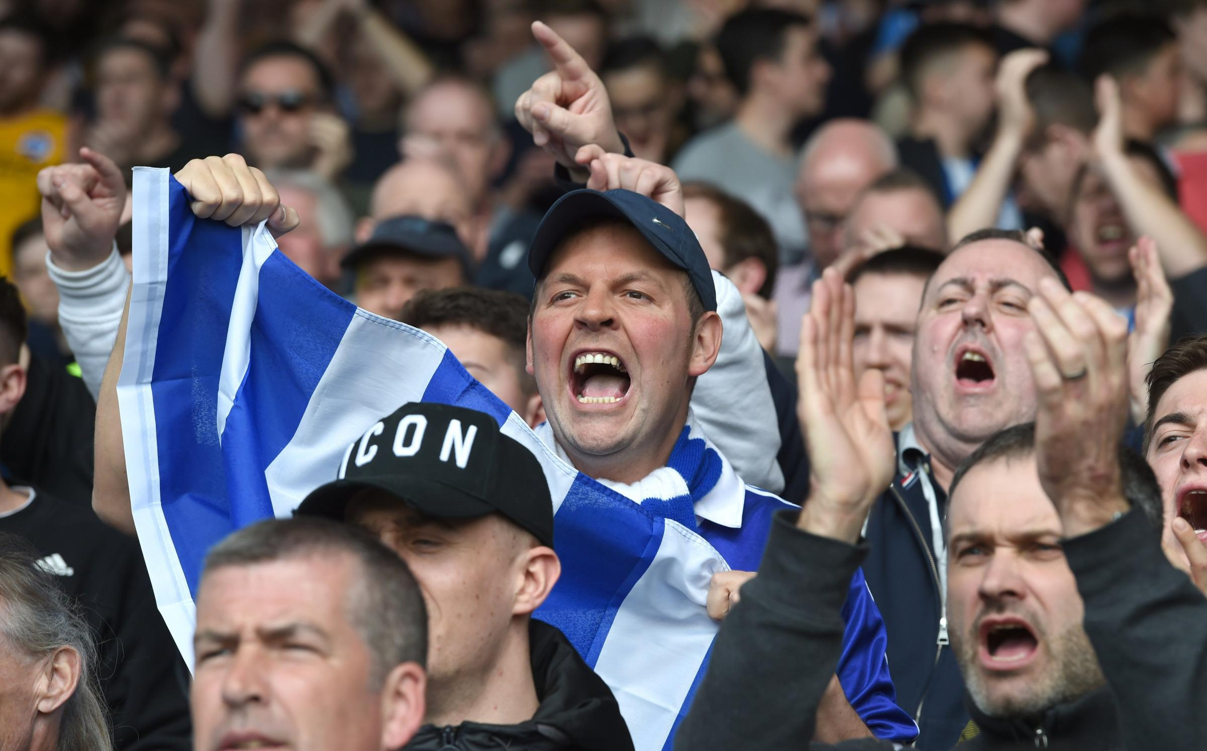 Brighton fans during the Premier League match against Crystal Palace and Brighton and Hove Albion at Selhurst Park. Photograph by Simon Dack.