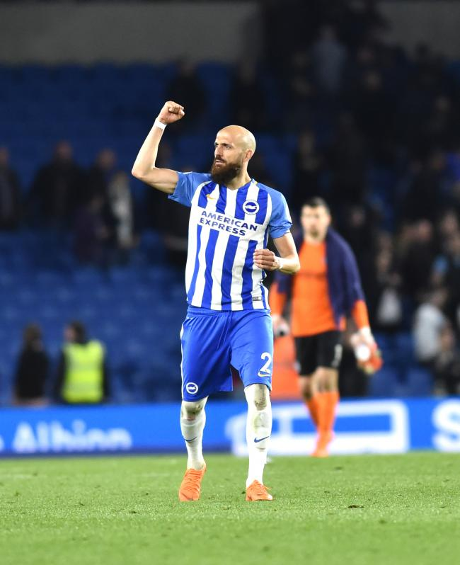 Bruno thanks the fans after Albion's draw with Tottenham
