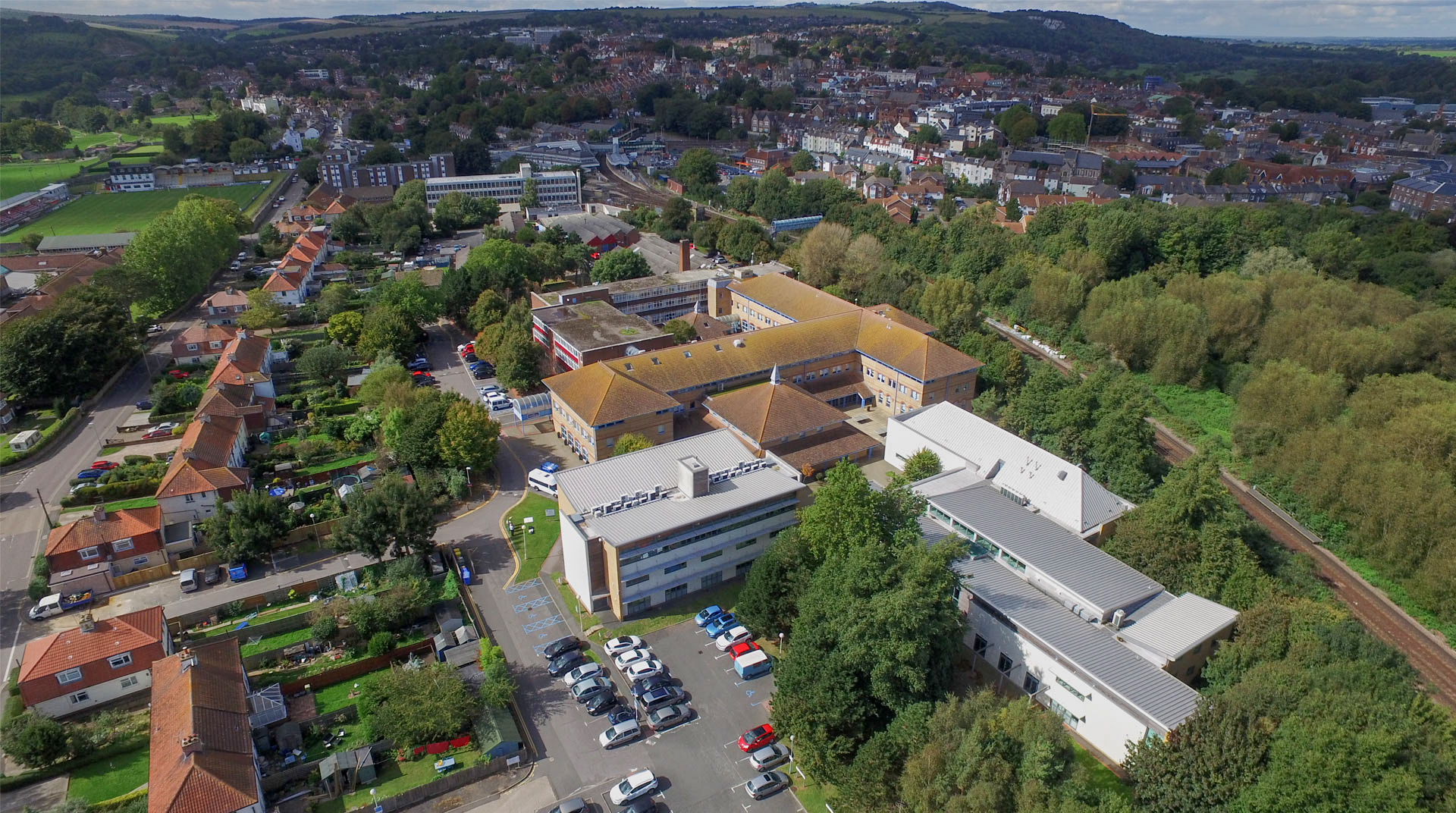 Aerial image of the Lewes campus