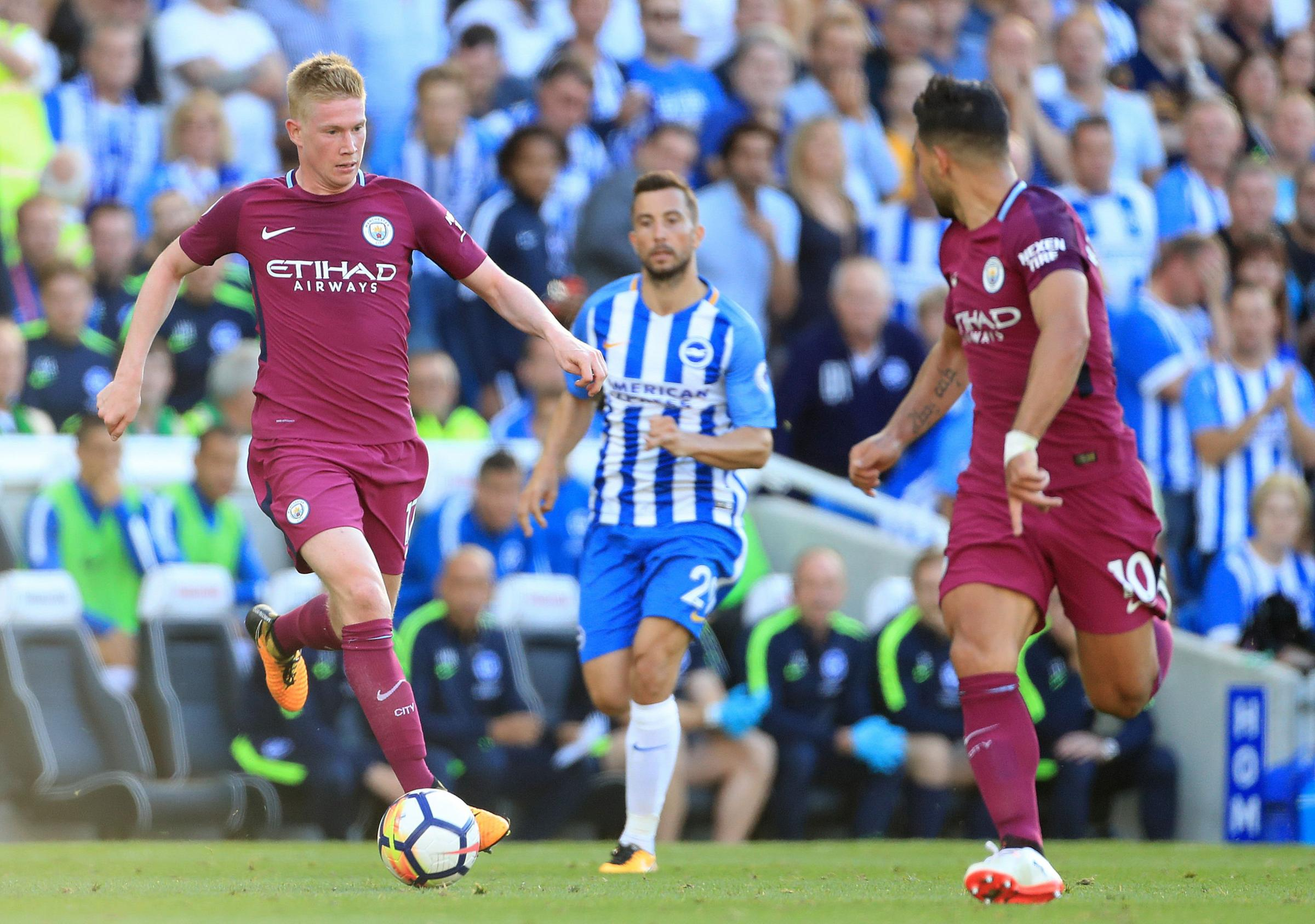Kevin De Bruyne (left) against Albion at the Amex last season
