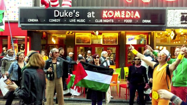 The Argus: Pro-Palestinian activists outside the Dukes of Komedia cinema.
