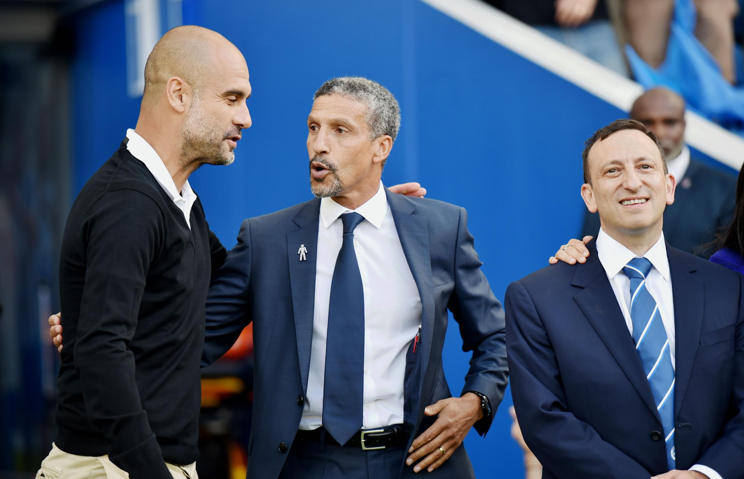 Chris Hughton (centre), Tony Bloom (right) and Pep Guardiola (left) before Albion's first game in the Premier League against Manchester City at the Amex in August