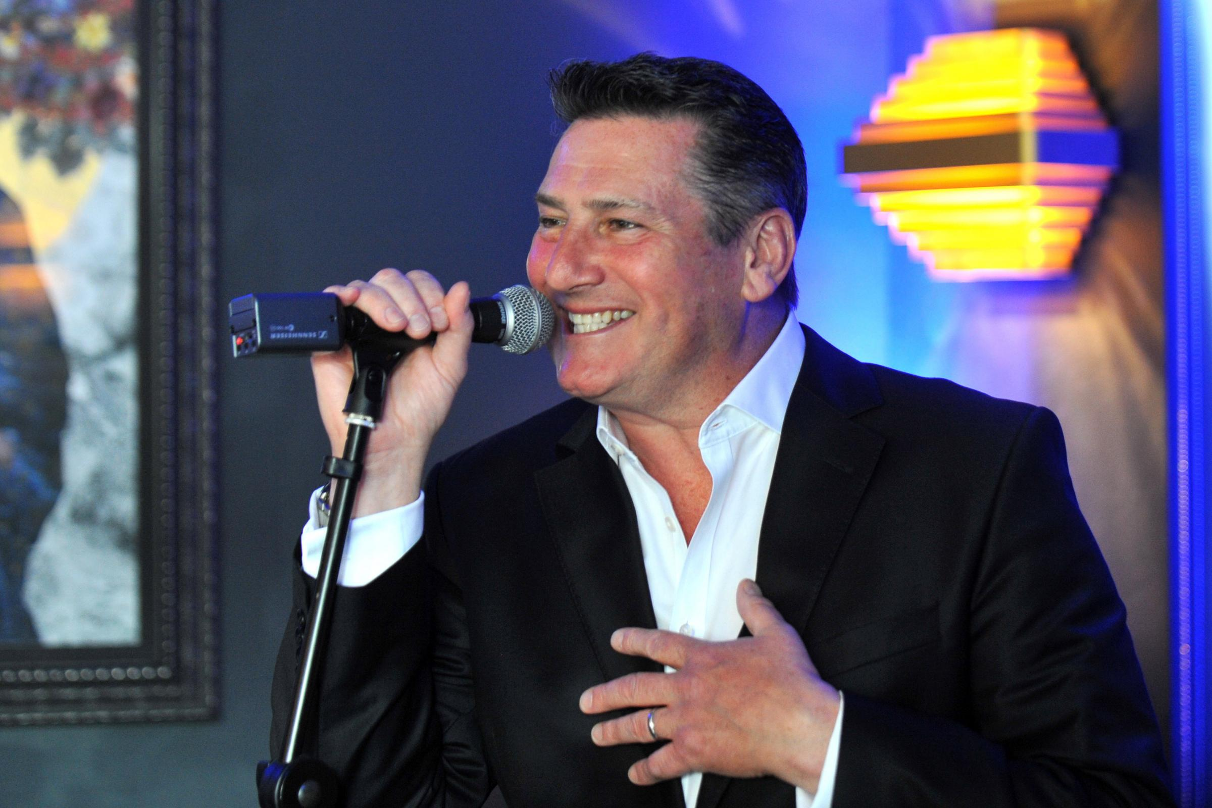 Singer Tony Hadley performing at a charity event at Ginger Pig, Brighton..