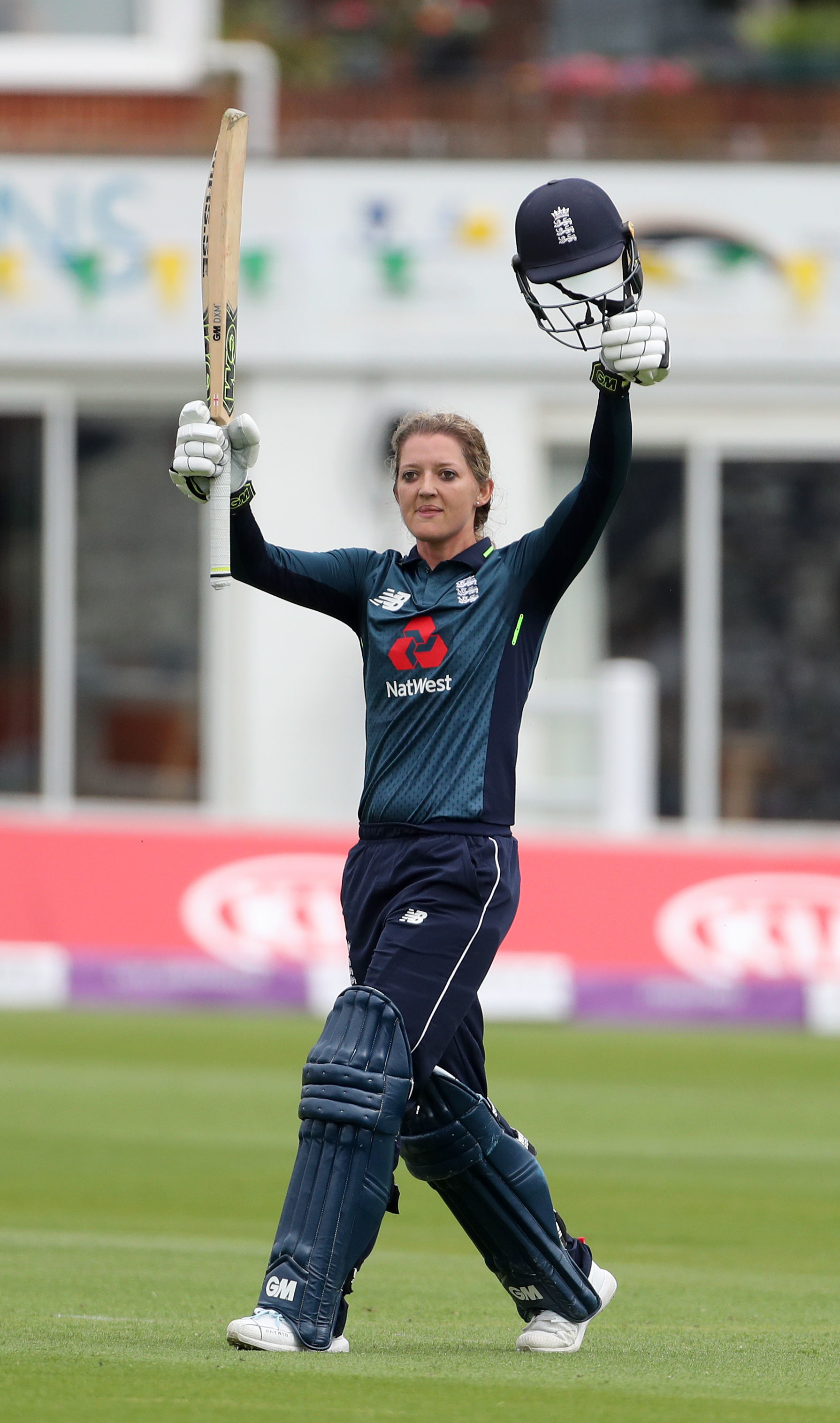 Sussex's Sarah Taylor after reaching her century for England