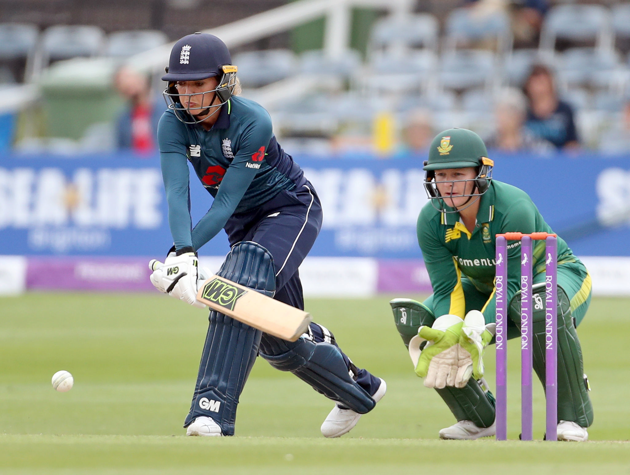 Sarah Taylor on her way to scoring 118 versus South Africa