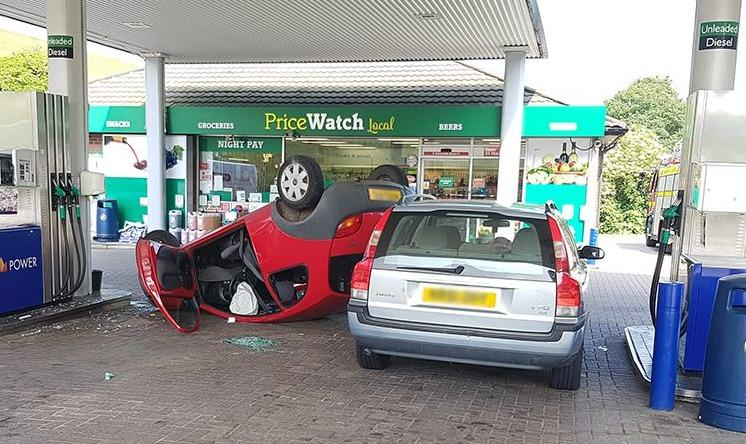 A Petrol Station Crash Caused By Water Bottle