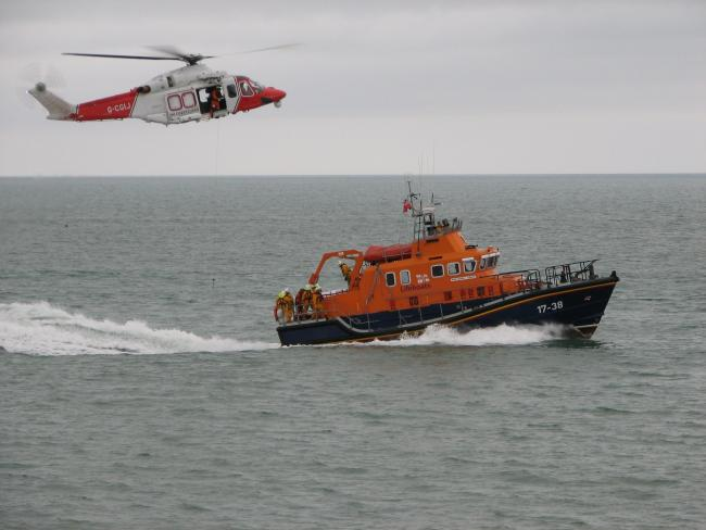 File picture of Newhaven Lifeboat and the coastguard helicopter