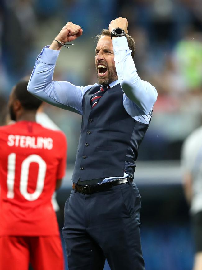 England manager Gareth Southgate celebrates their win after the final whistle during the FIFA World Cup Group G match at The Volgograd Arena, Volgograd. PRESS ASSOCIATION Photo. Picture date: Monday June 17, 2018. See PA story WORLDCUP England. Photo cred