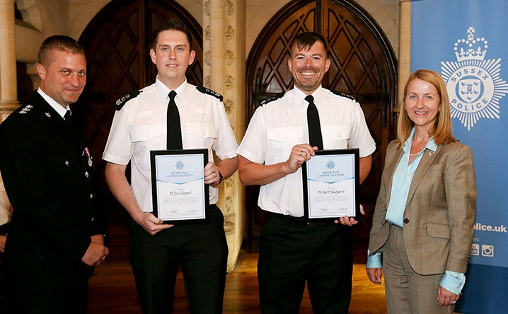 Chief Inspector Miles Ockwell presented awards to Sergeant Chris Bryant and Sergeant Matthew Songhurst, alongside Sussex PCC Katy Bourne