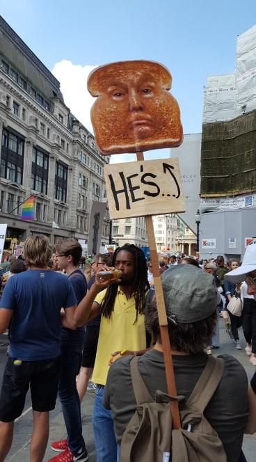 Image result for he's toast london trump protester