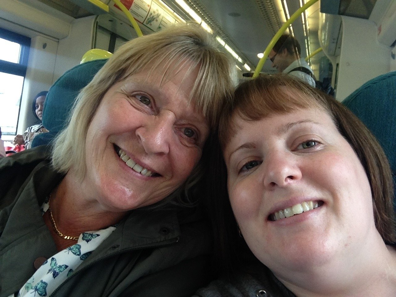 (l-r) Pat Lambert with her daughter Nikki Lambert on a train journey back from London after seeing show Matilda. ..Pictures of Nikki Lambert supplied by Pete Lambert. ...
