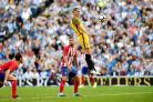 Good signs: Steve Sidwell heads Albion level against Atletico Madrid