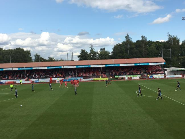 Crawley celebrate Filipe Morais's goal... until it was ruled out by the linesman