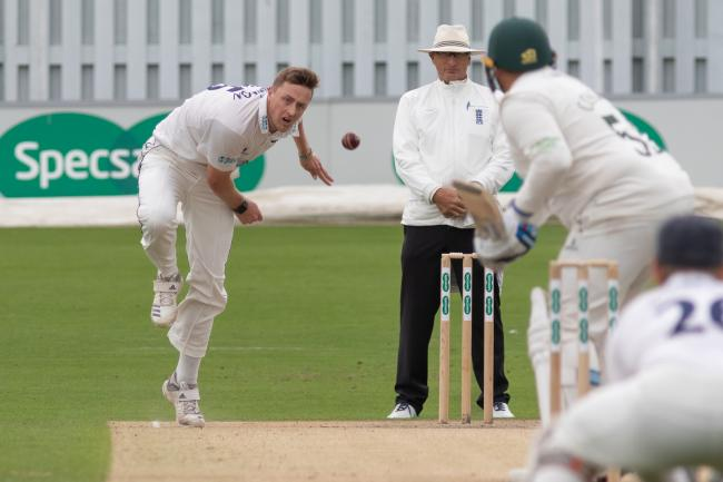 A rampant Ollie Robinson strikes to capture Leicestershire's Mark Cosgrove leg-before at Hove. Picture by John Mallett