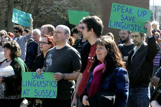 Protests were held today at the University of Sussex