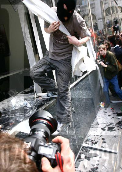 RIOTS: Demonstrators smash into the RBS Bank in Thread Needle Street, during G20 demonstrations, in central London. Photo by Gareth Fuller/PA WIre