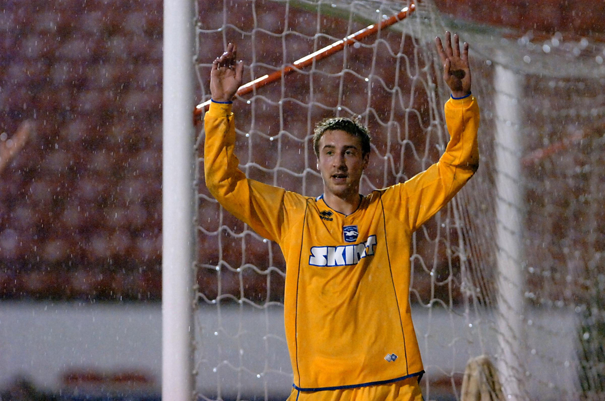 Glenn Murray celebrates the goal at Walsall with which he was finally credited more than ten years later