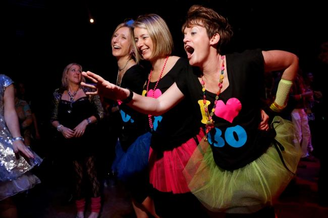 80s-themed outfits at Haven't Stopped Dancing Yet in London