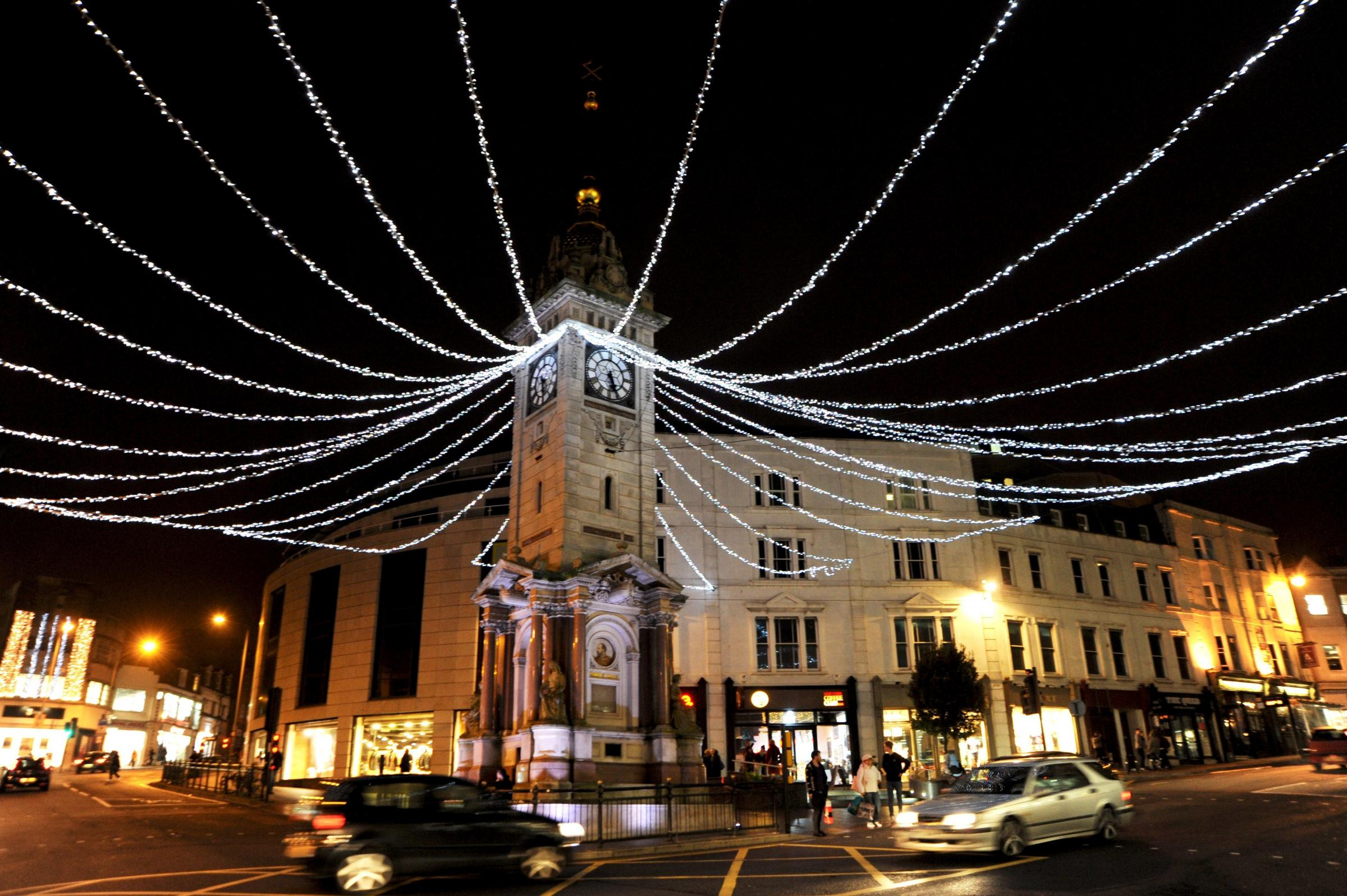 Brighton UK 21 December 2014- The Christmas lights at the Clock Tower in central Brighton.Photograph taken by Simon Dack .....
