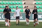 Lewis Dunk training alongside Harry Kane with England in Seville