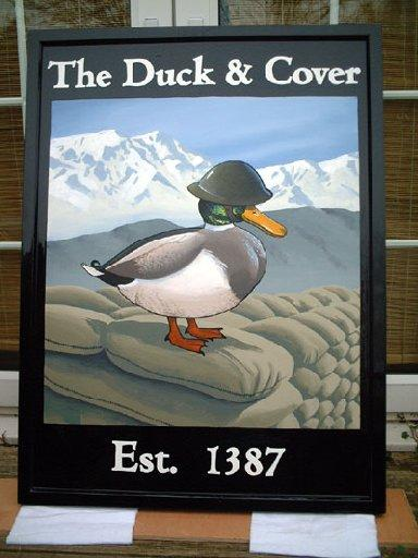 Nick Hallard's Duck and Cover sign