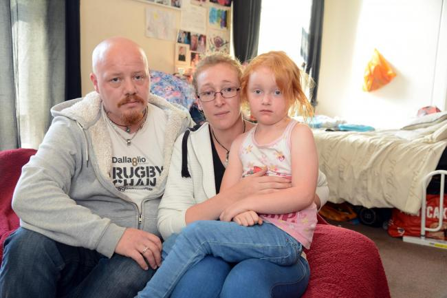 Chris Steer and Mel Whitchurch with her daughter Cheyenne, aged five