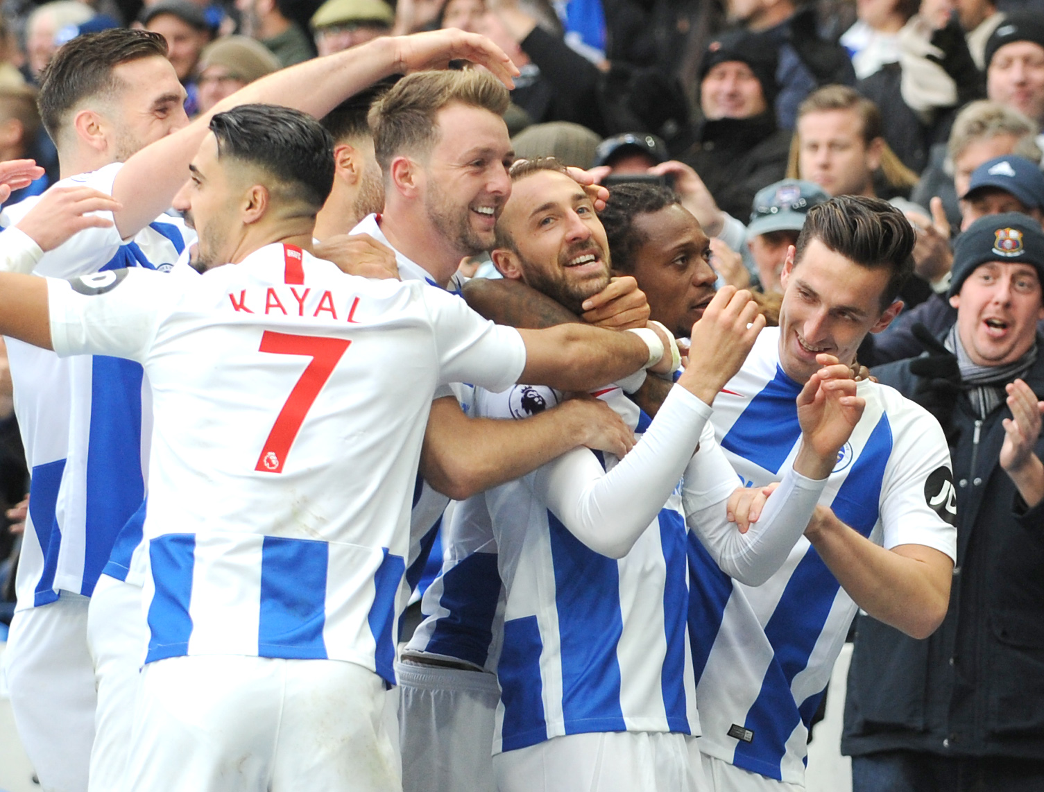 Glenn Murray celebrates his 100th Albion goal. Picture by Liz Finlayson