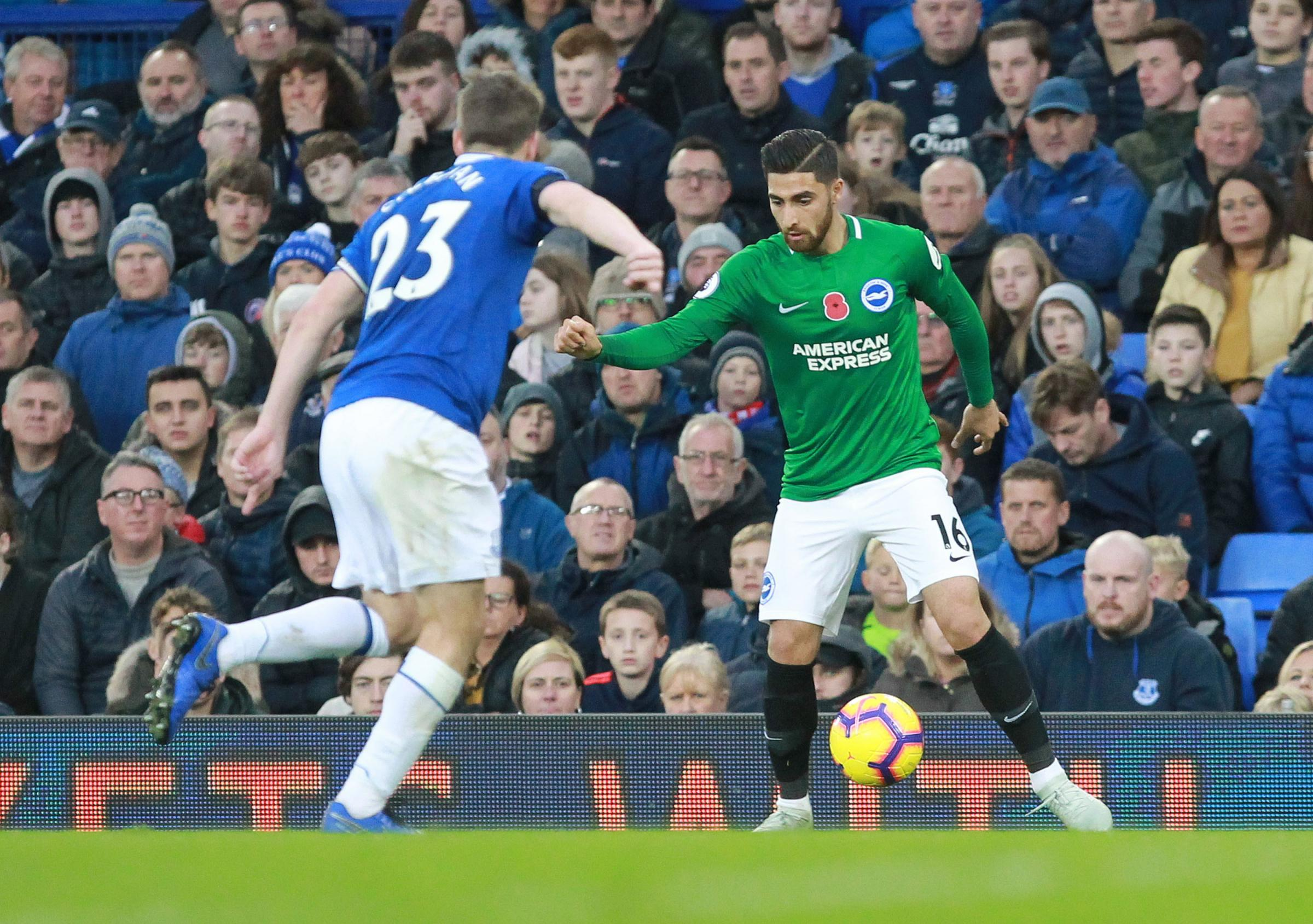 Ali Jahanbakhsh takes on Everton's Seamus Coleman  - Pic by: Richard Parkes