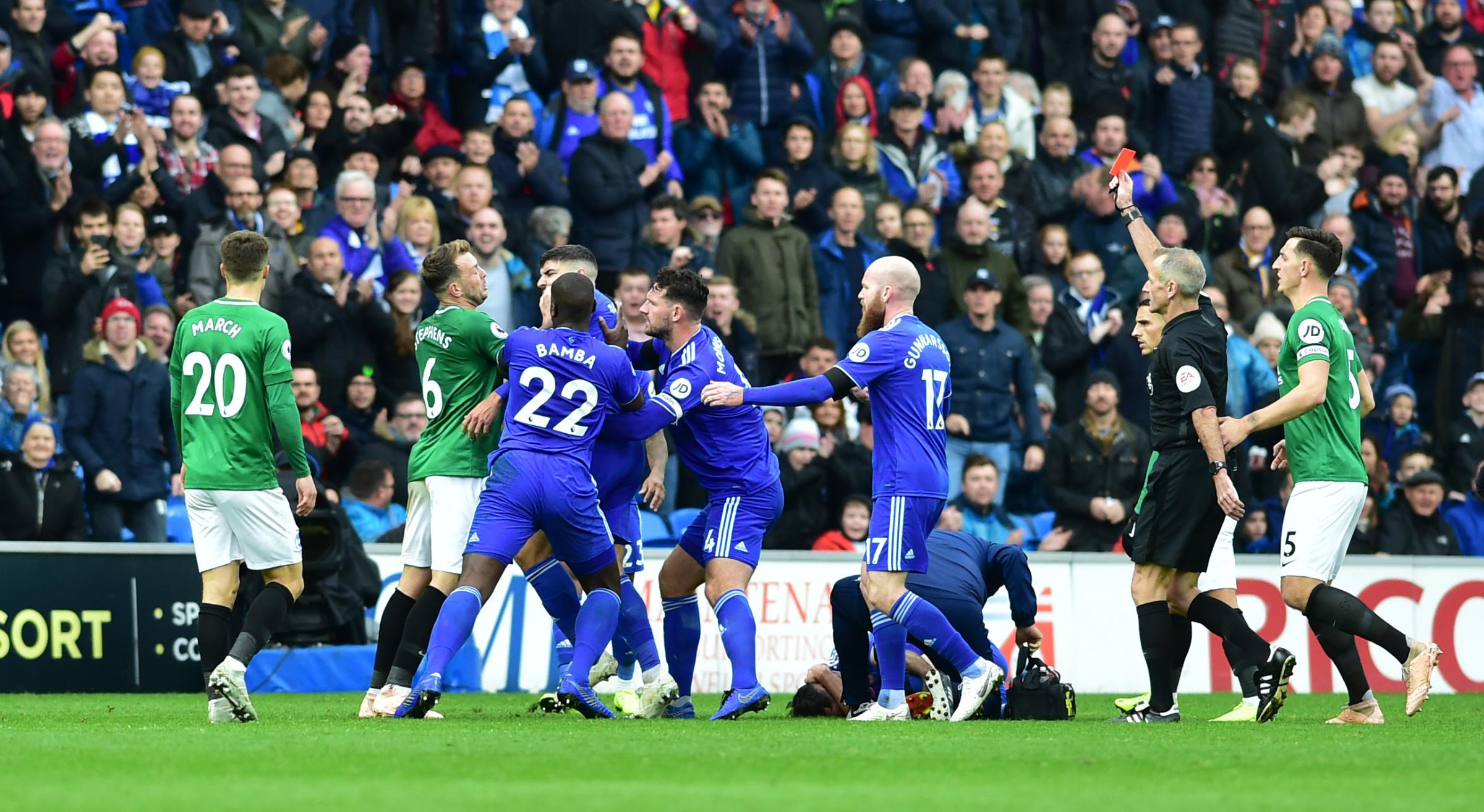Seagulls hit by late goal - after Stephens sent off. How Albion lost 2-1 at Cardiff City