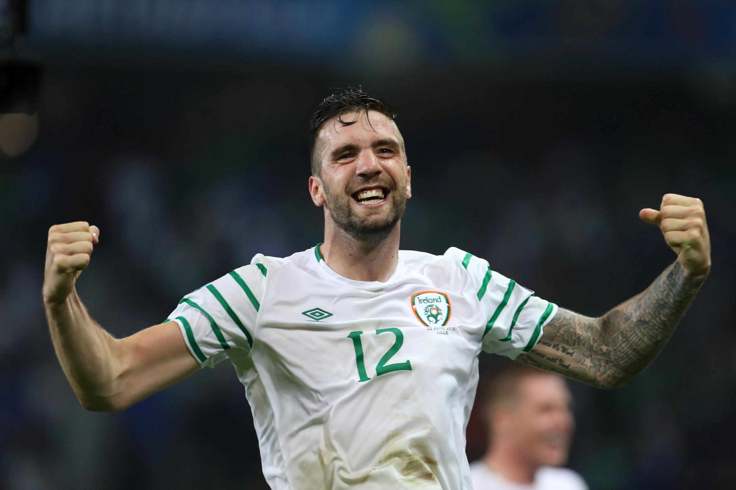 Republic of Ireland's Shane Duffy celebrates after the final whistle during the Euro 2016, Group E match at the Stade Pierre Mauroy, Lille.