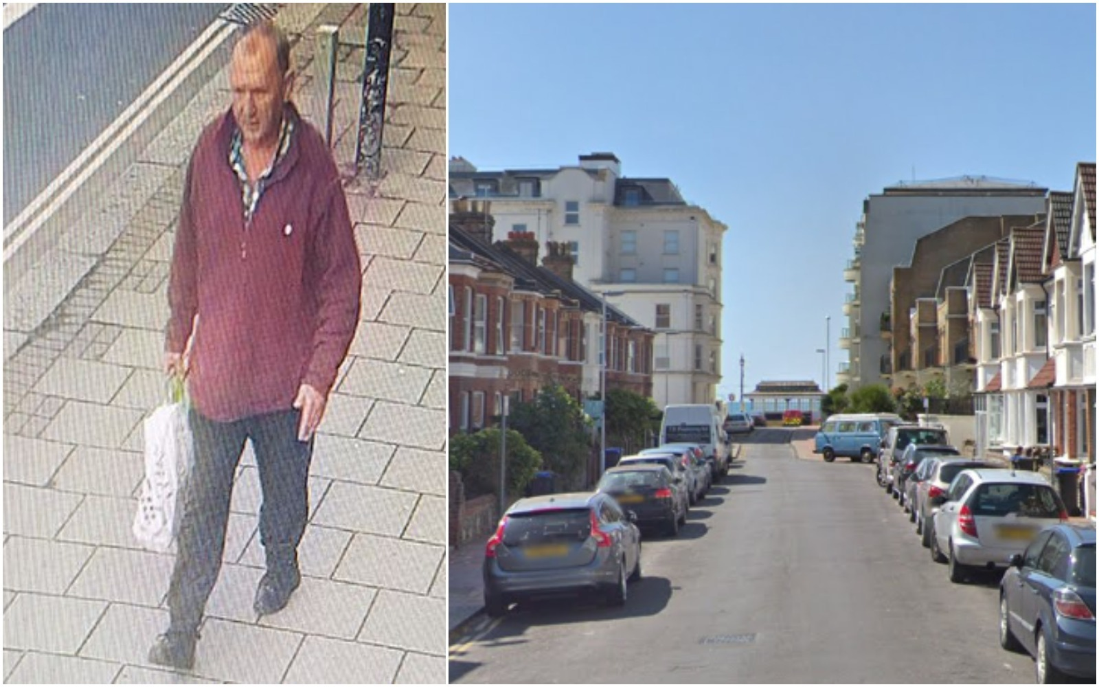 CCTV of robbery suspect after threats made to man in the street