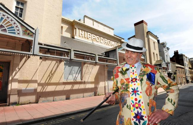 PHOTO BY LIZ FINLAYSON.LF180615D8.The Hippodrome has been saved after campaigns by the Our Brighton Hippodrome  group and the Save the Hippodrome group - Bob Eaton aka Max Wall from Our Brighton Hippodrome group was on hand to celebrate outside the Hippod