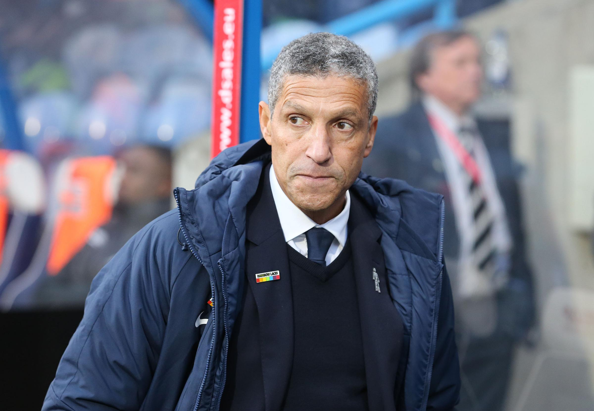 Chris Hughton looks concerned during the win at Huddersfield