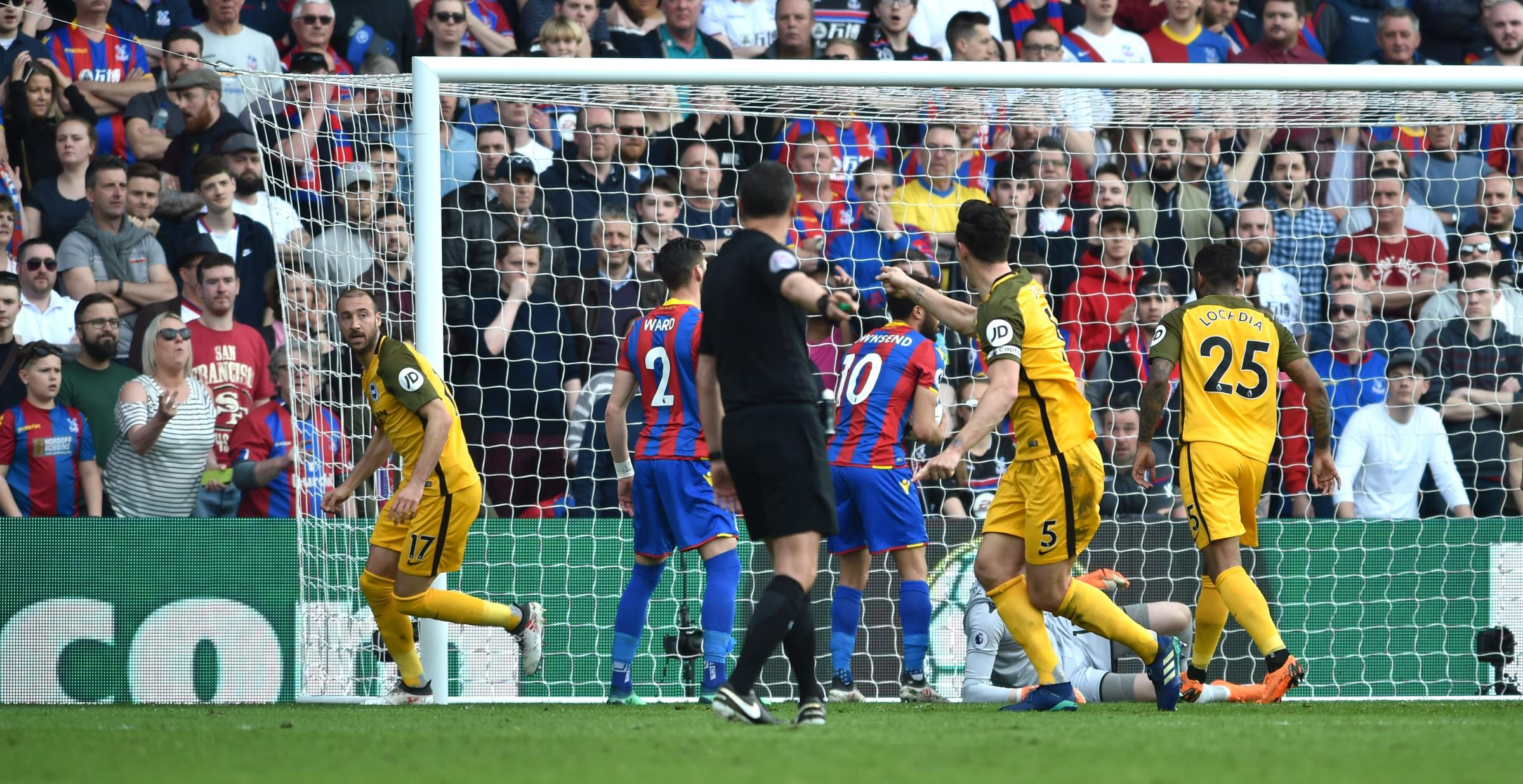 Glenn Murray (left) scoring the last time Albion played Palace at Selhurst Park