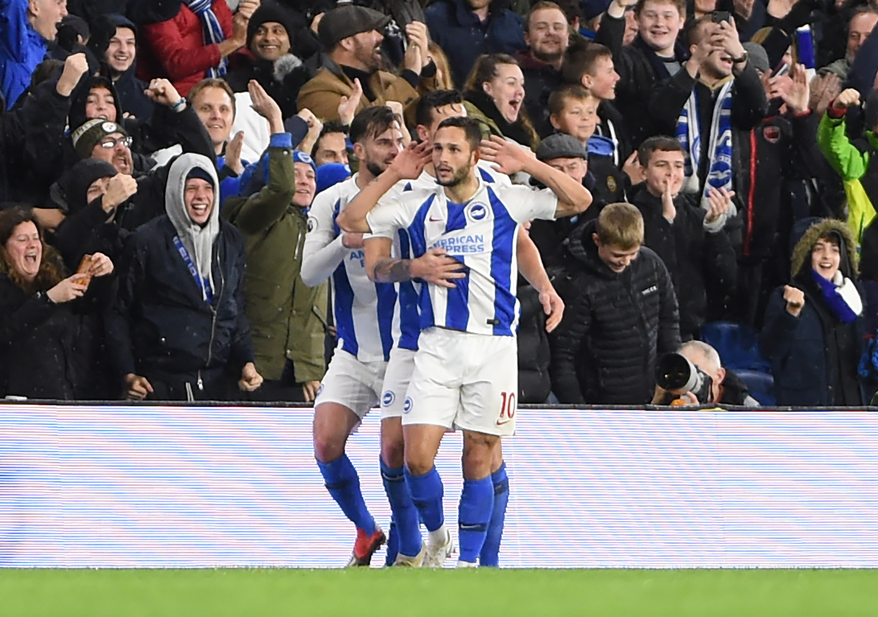 Florin Andone celebrates his goal