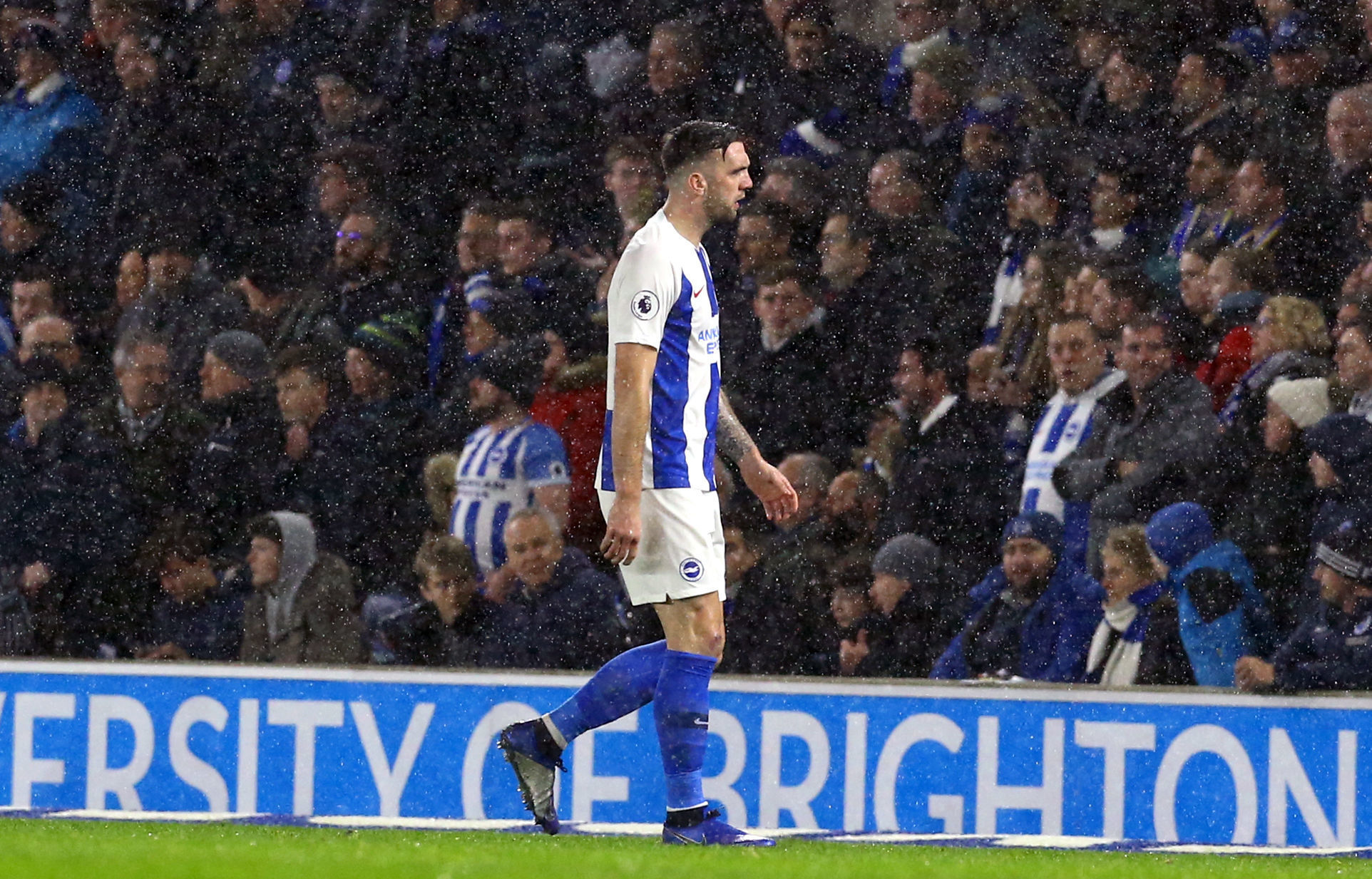 Shane Duffy trudges off after seeing red. Picture PA