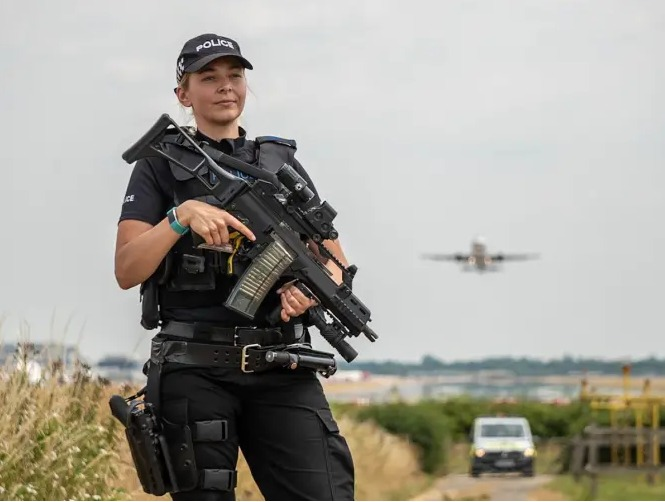 Police officer at Gatwick Airport