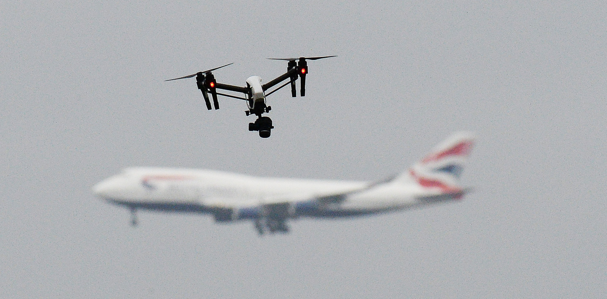 FILE PHOTO dated 25/2/2017 of a drone and an aircraft. Gatwick airport remains closed this morning after drones were spotted over the airfield last night and this morning.  PRESS ASSOCIATION Photo. Issue date: Thursday December 20, 2018. See PA story AIR