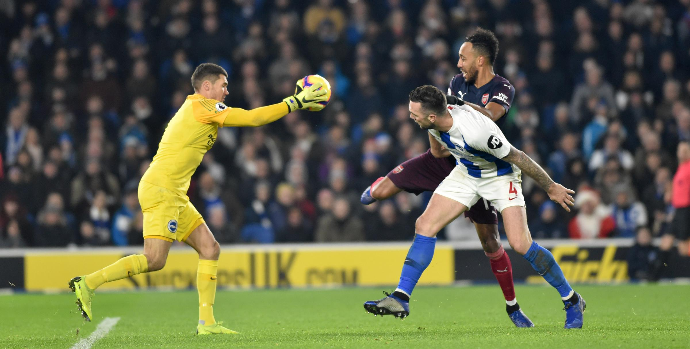 Mathew Ryan made two crucial saves from Pierre-Emerick Aubameyang