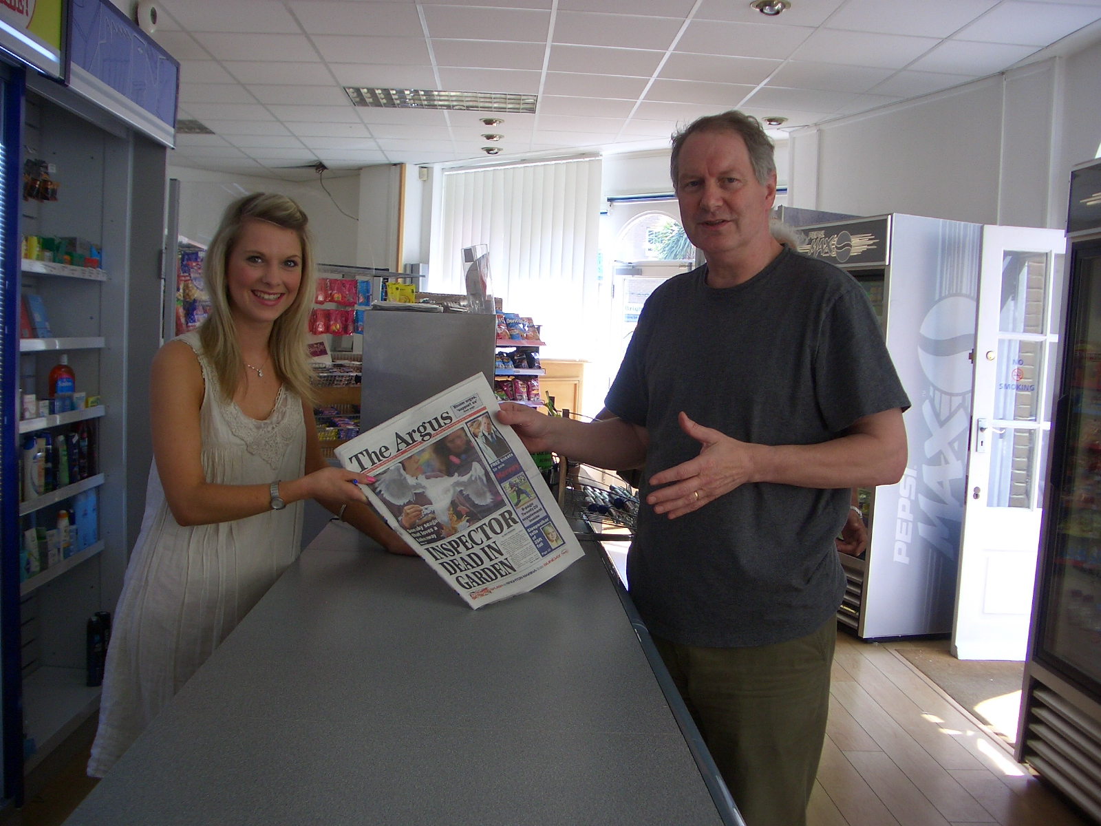Danielle Wright serves Roy Greenslade with a well-known local paper   Picture: Noreen Taylor