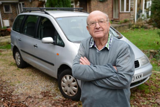 Brian Marshal (84) with his car at his home in Kingston, Lewes. Picture: Allan Hutchings
