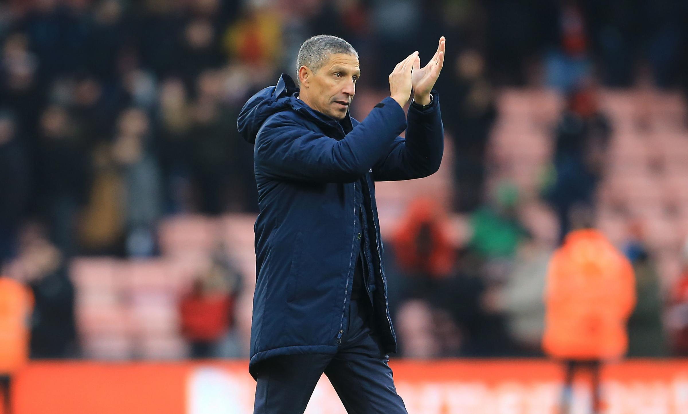 Brighton & Hove Albion manager Chris Hughton applauds the fans after the final whistle during the Emirates FA Cup, third round match at the Vitality Stadium, Bournemouth. PRESS ASSOCIATION Photo. Picture date: Saturday January 5, 2019. See PA story SO