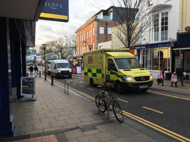 Ambulance in St James's Street after person has a fit