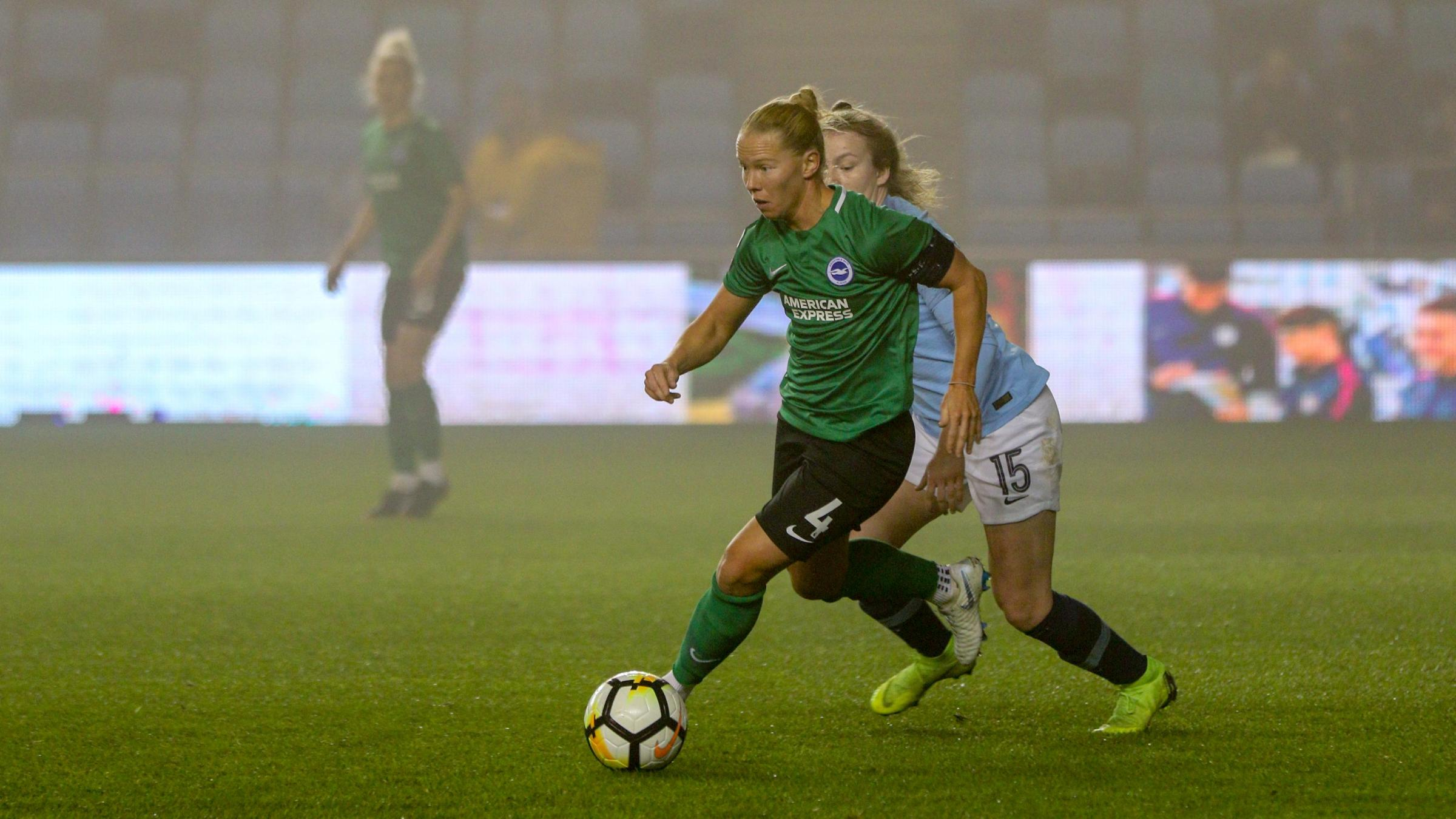 Dani Buet in action goes past Lauren Hemp of Manchester City. Picture: Geoff Penn/BHAFC