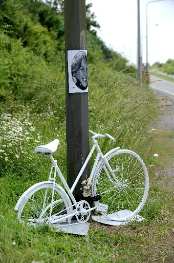 The ghost bike placed at the side of the A23