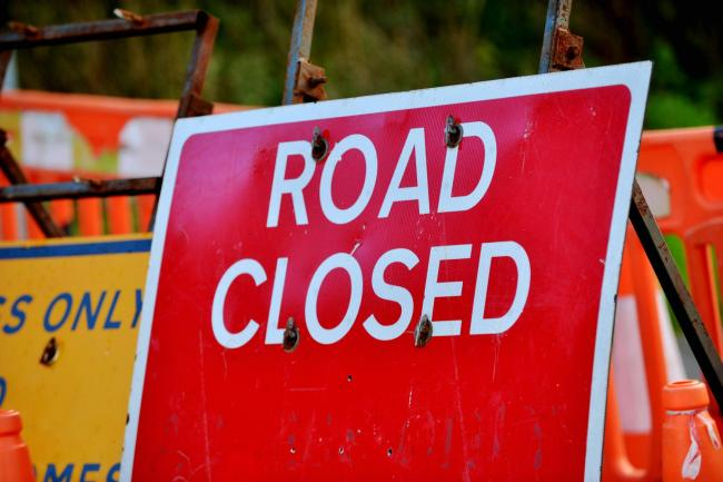 GENERIC Road Closed sign Roadworks Road Ahead Closed Diversion signs..Pic Tom Kay    Friday 21st September 2018.
