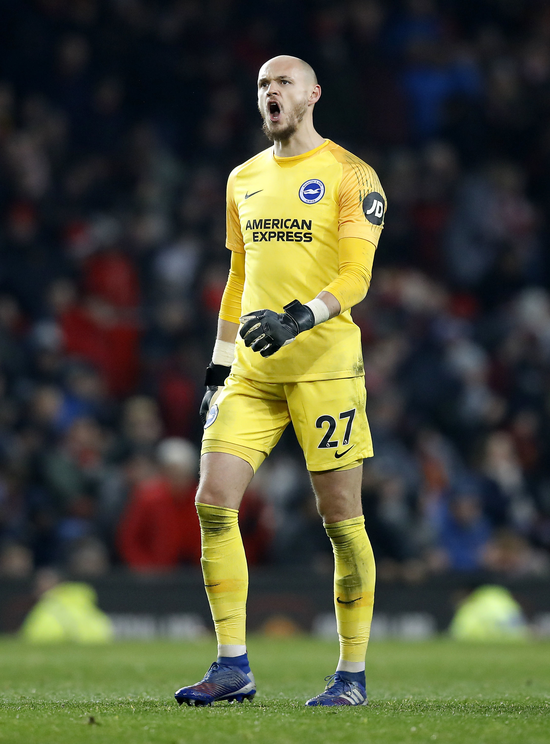 Brighton & Hove Albion goalkeeper David Button after the final whistle during the Premier League match at Old Trafford, Manchester. PRESS ASSOCIATION Photo. Picture date: Saturday January 19, 2019. See PA story SOCCER Man Utd. Photo credit should read